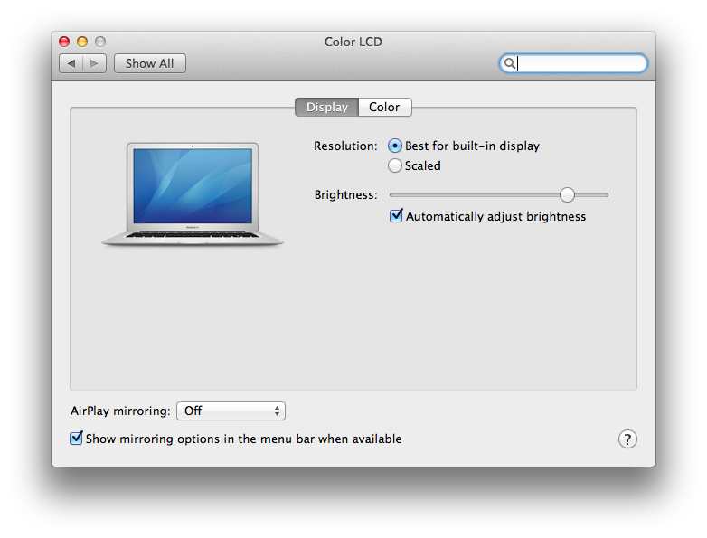 AirPlay Mirroring settings