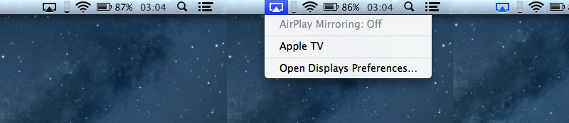 AirPlay menu bar