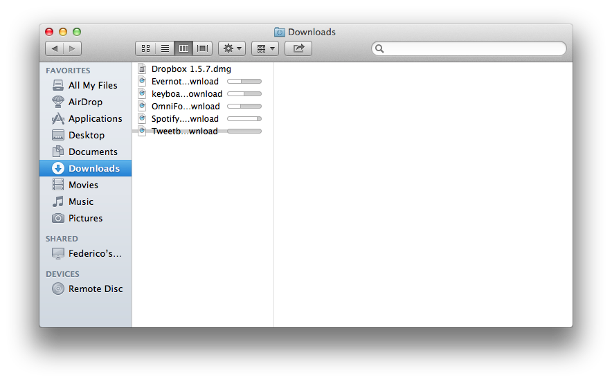Finder inline progress. Note the strikethrough on Tweetbot's download, which Safari couldn't determine the size of.