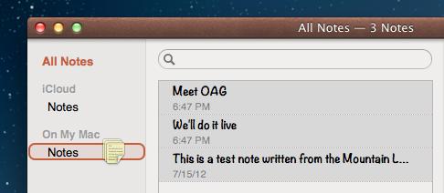 Notes drag