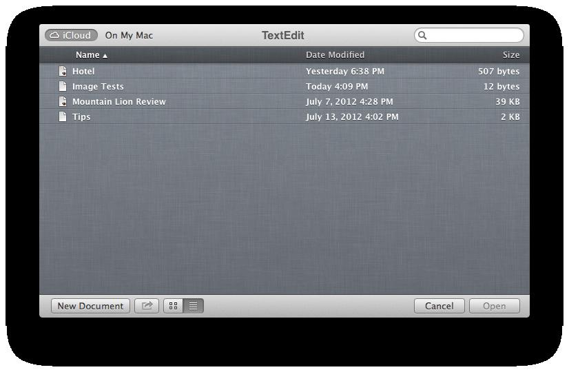 iCloud list view
