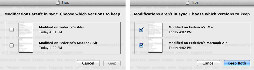 iCloud conflict resolution