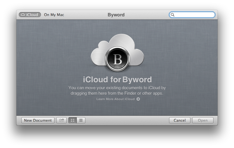 Byword's iCloud Document Library