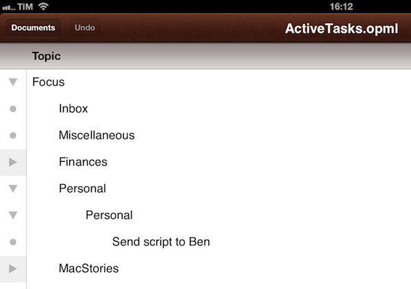 visualize omnifocus as ithoughts map opml or plain text